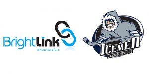 BrightLink Technology logo beside the Jacksonville Icemen hockey team logo